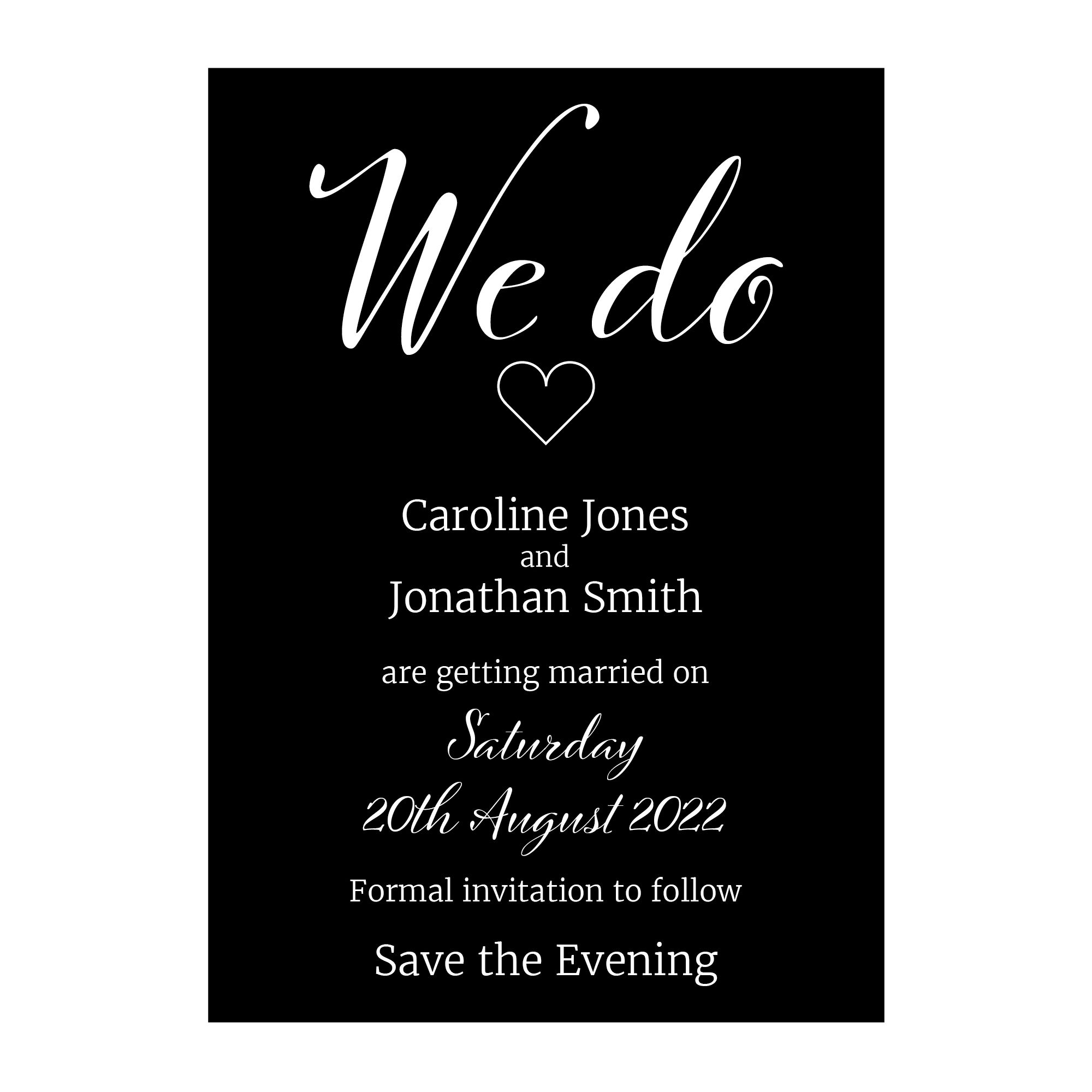 Black with White Ink We Do Save the Evening Cards