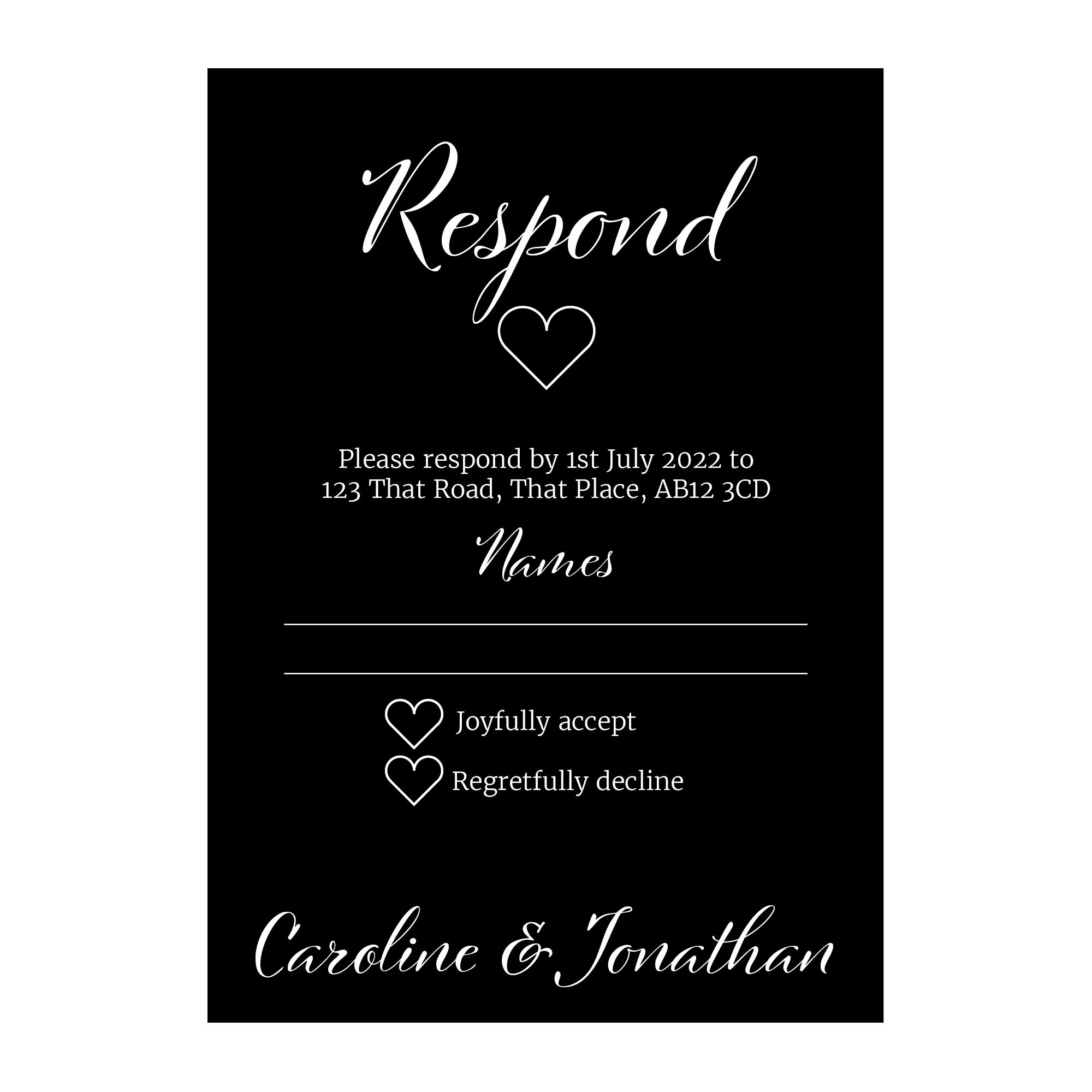 Black with White Ink We Do RSVP Cards