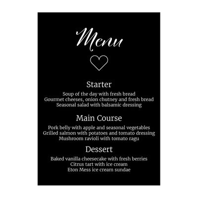 Black with White Ink We Do Menu Cards