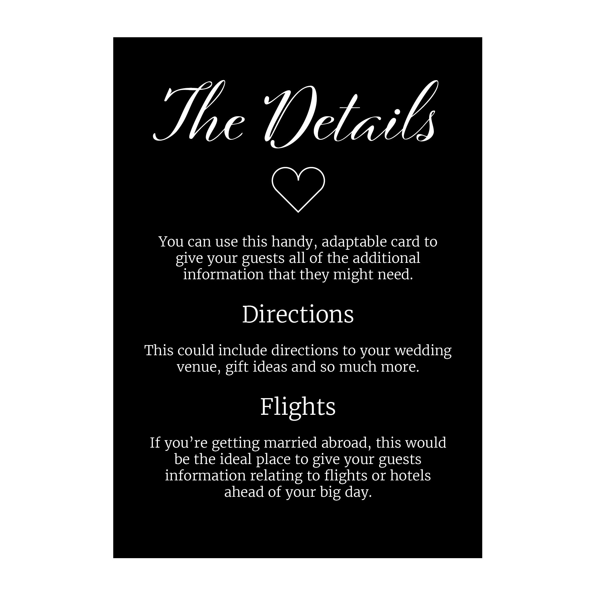 Black with White Ink We Do Guest Information Cards
