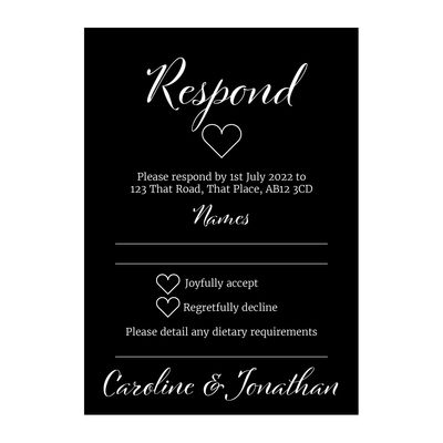 Black with White Ink We Do RSVP Dietary Requirement Cards