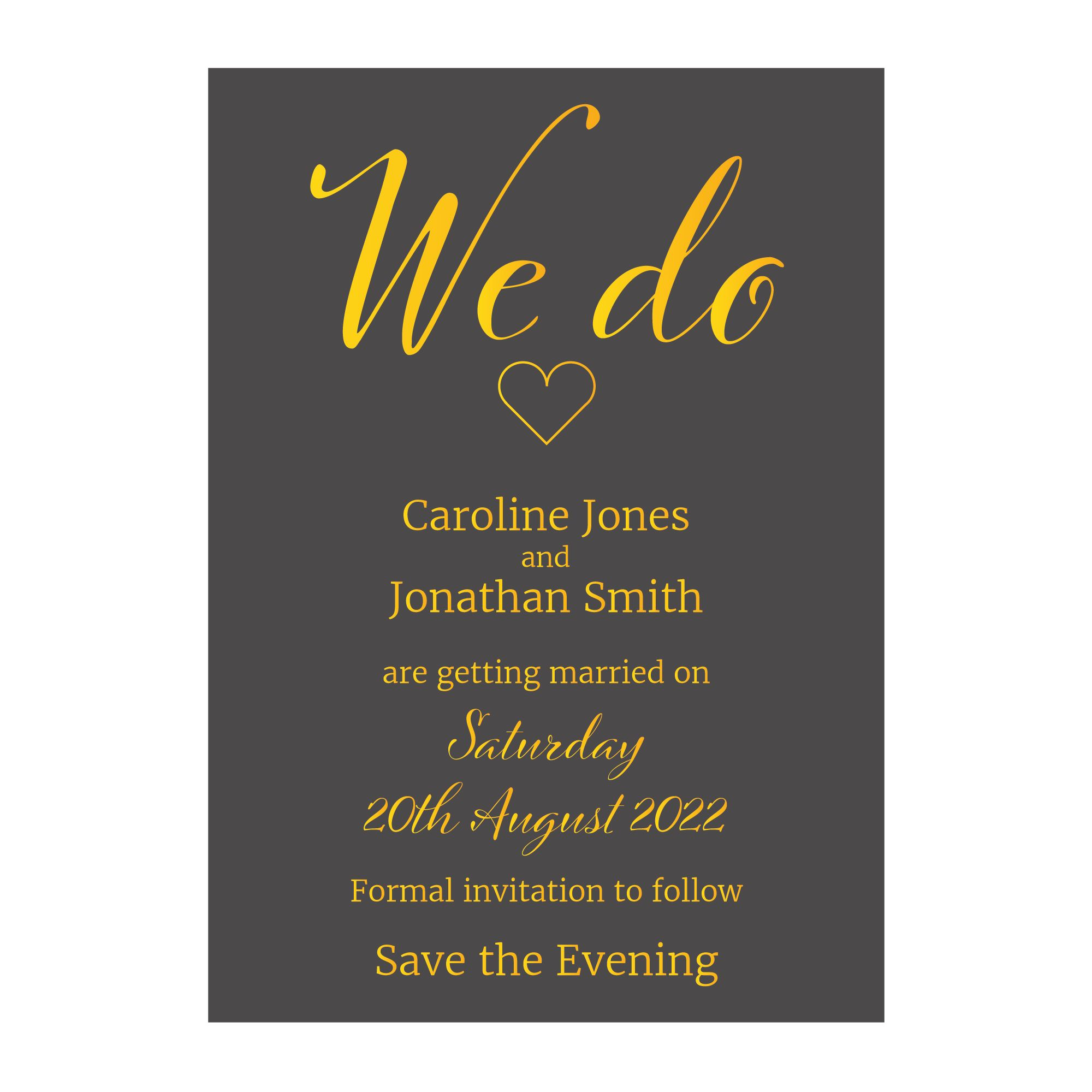Grey with Gold Foil We Do Wedding Save the Evening Cards