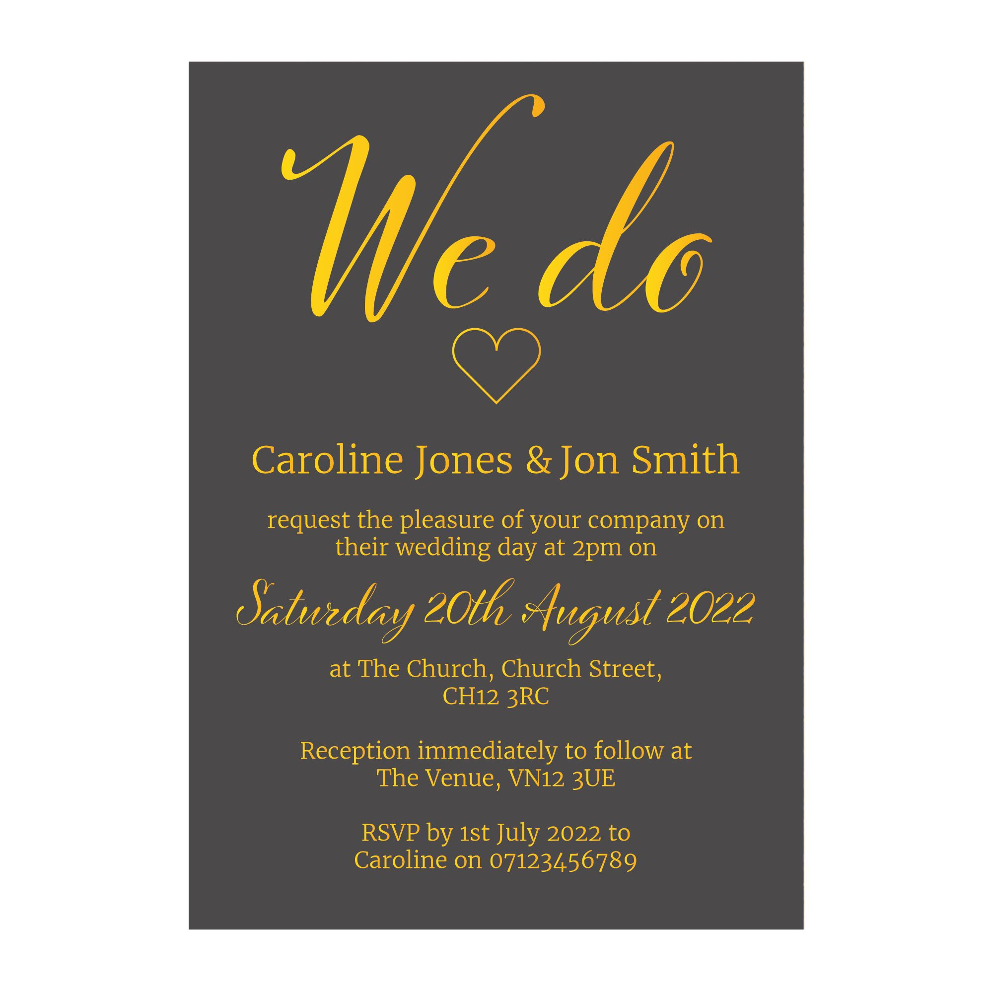Grey with Gold Foil We Do Wedding Invitations