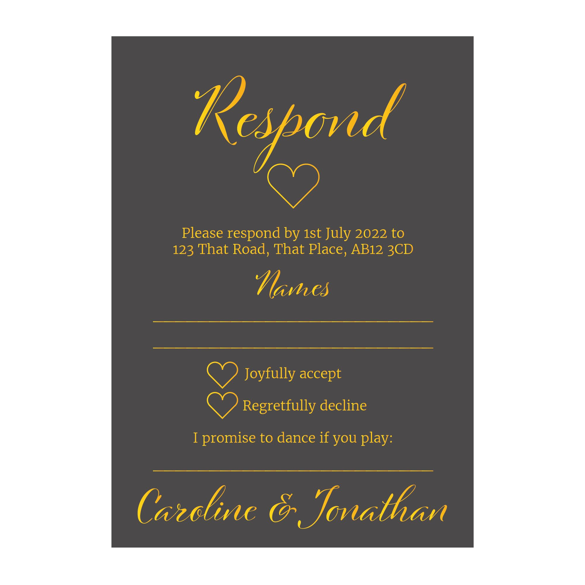 Grey with Gold Foil We Do Wedding RSVP Song Request Cards
