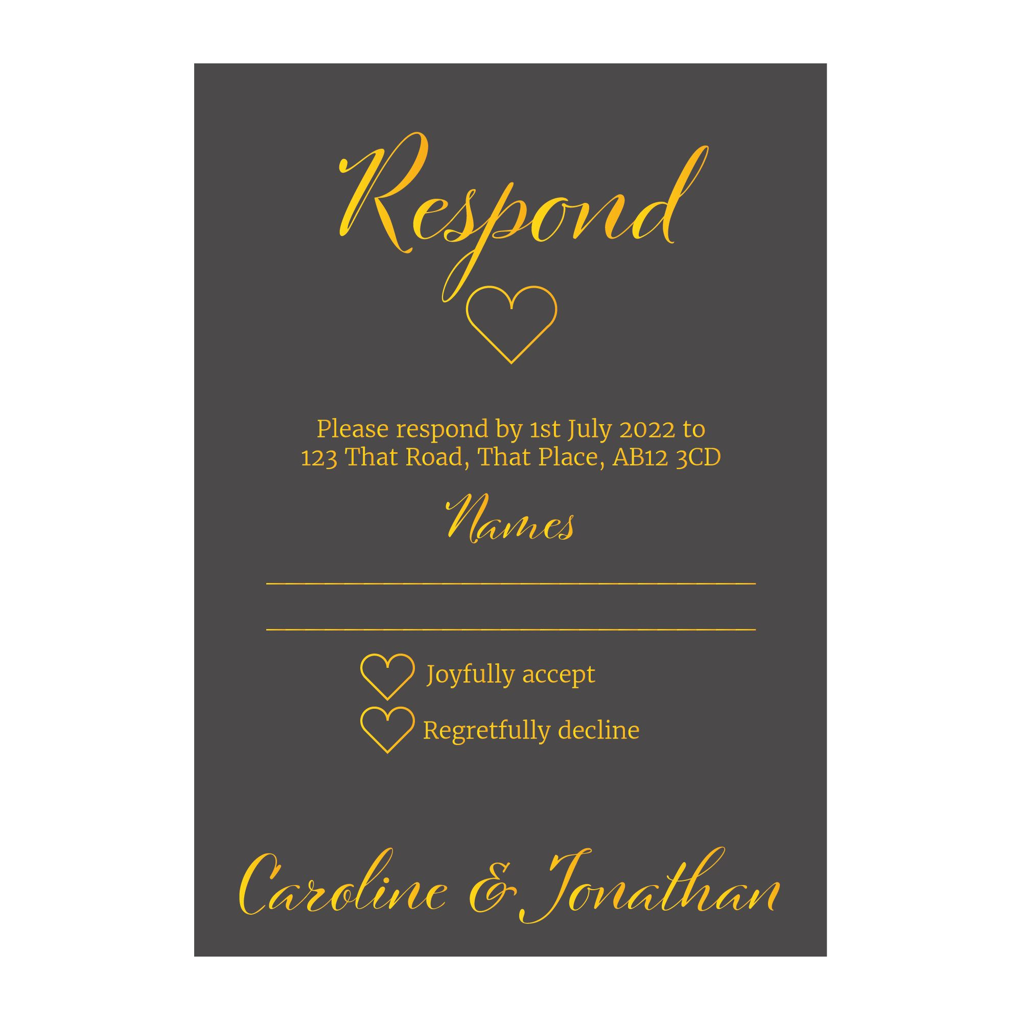 Grey with Gold Foil We Do Wedding RSVP Cards