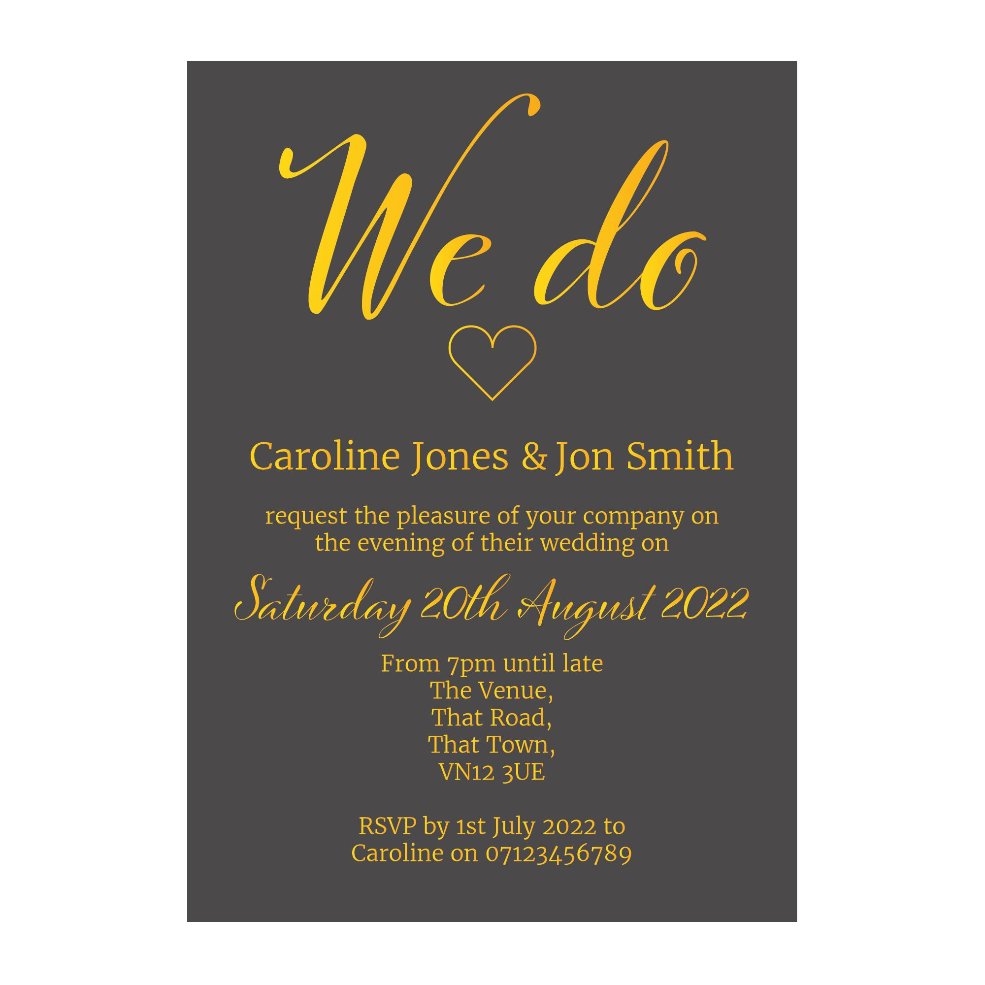 Grey with Gold Foil We Do Reception Invitations