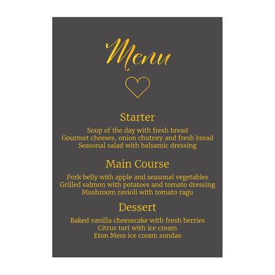 Grey with Gold Foil We Do Wedding Menu Cards