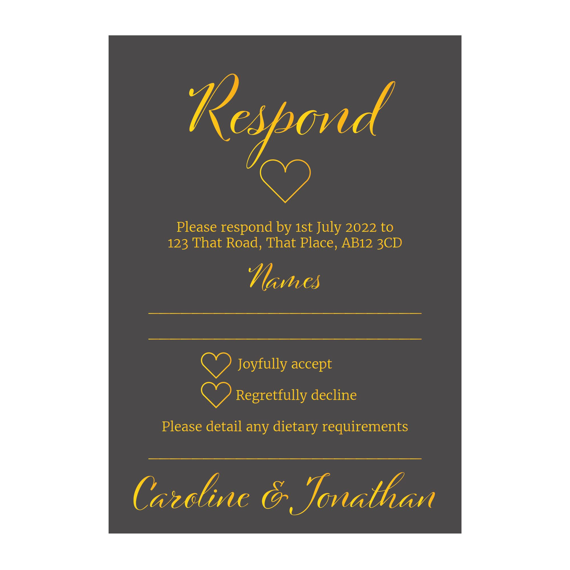 Grey with Gold Foil We Do Wedding RSVP Dietary Requirements Cards
