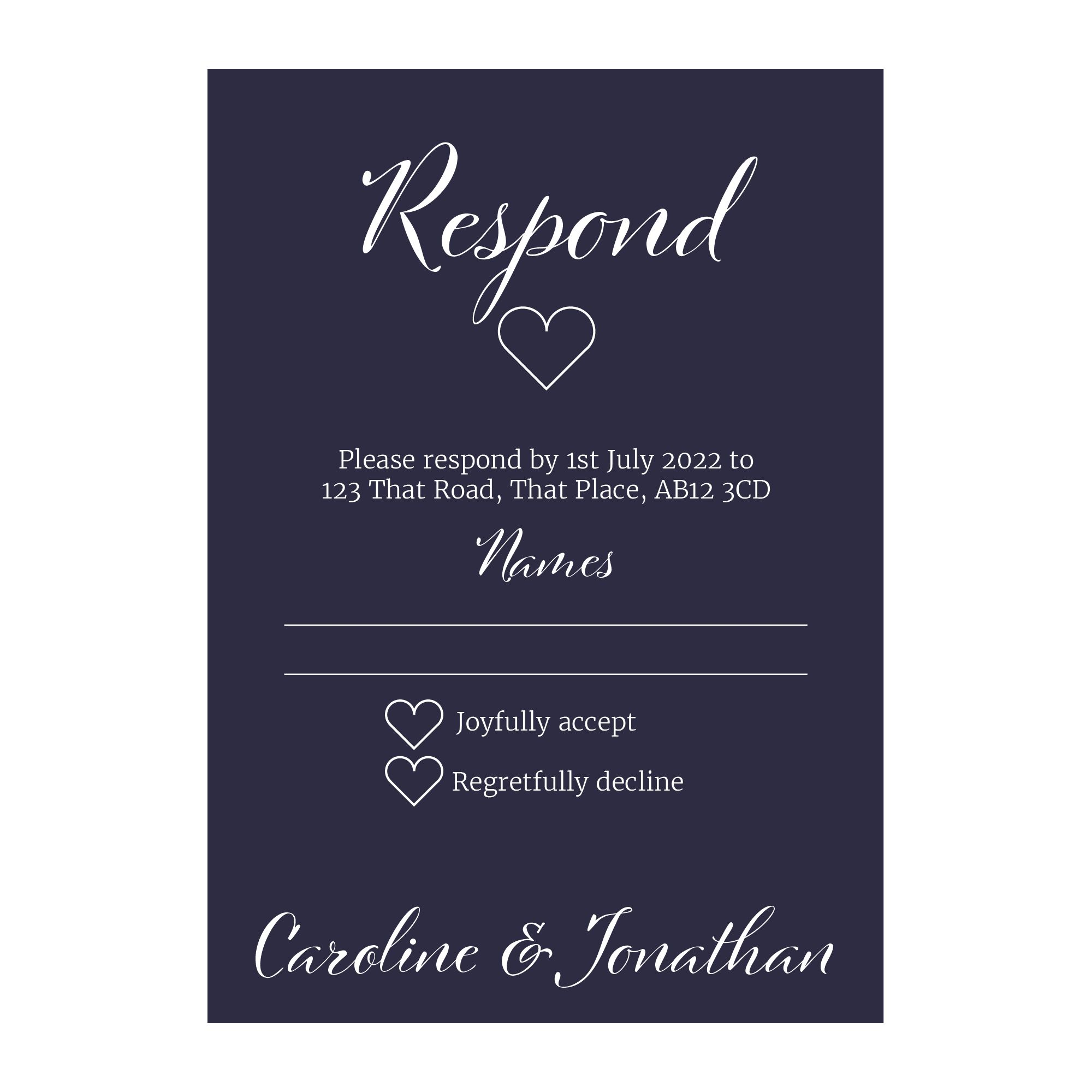 Navy Blue with White Ink We Do Decorative RSVP Cards