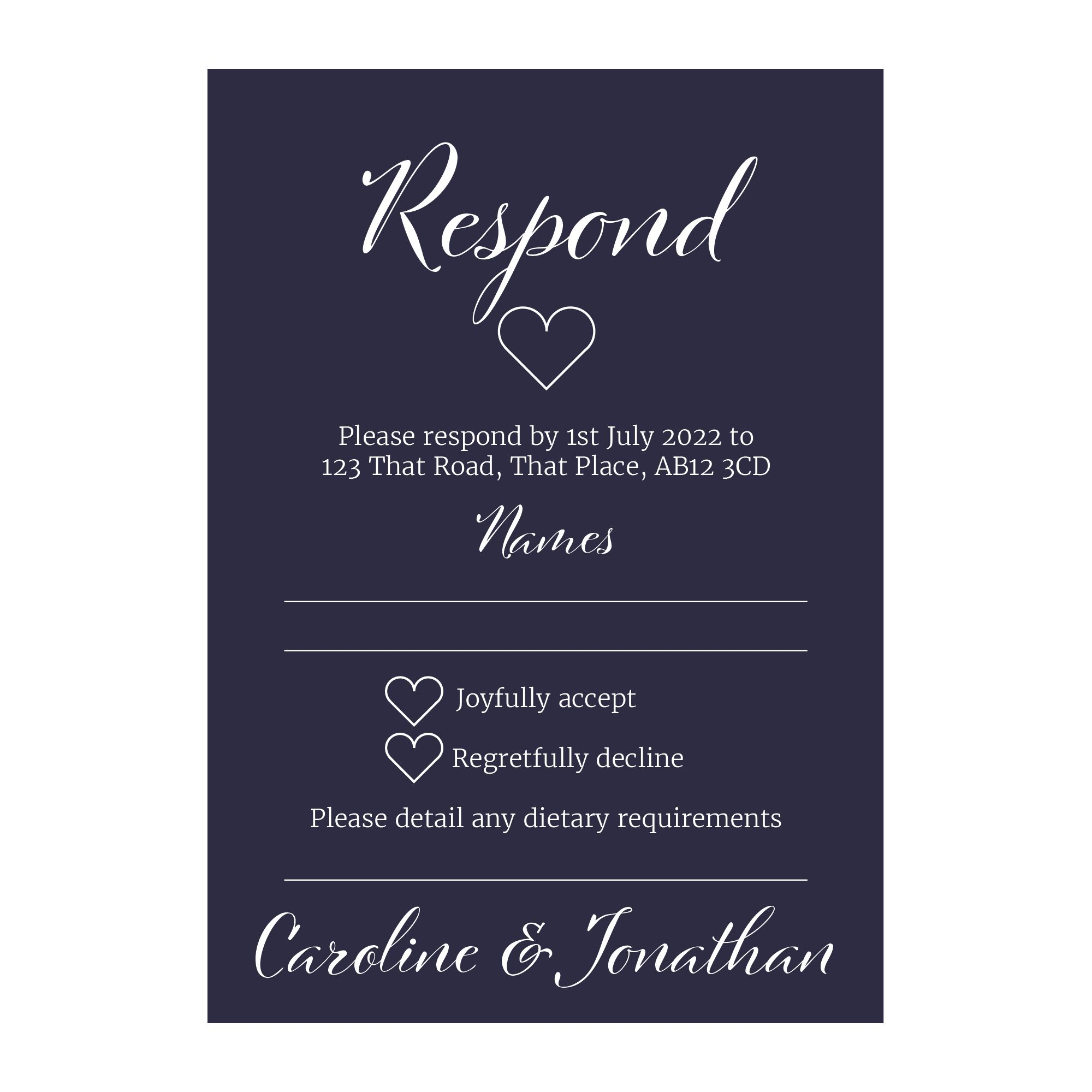 Navy Blue with White Ink We Do Decorative Diet RSVP Cards