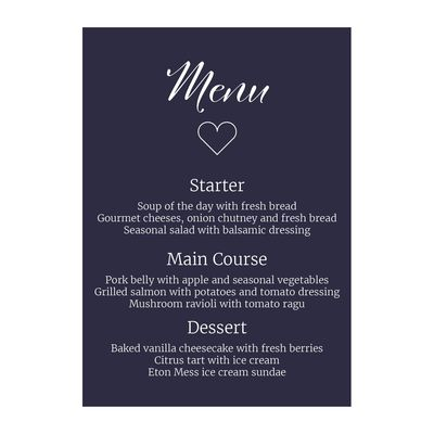 Navy Blue with White Ink We Do Decorative Menu Cards
