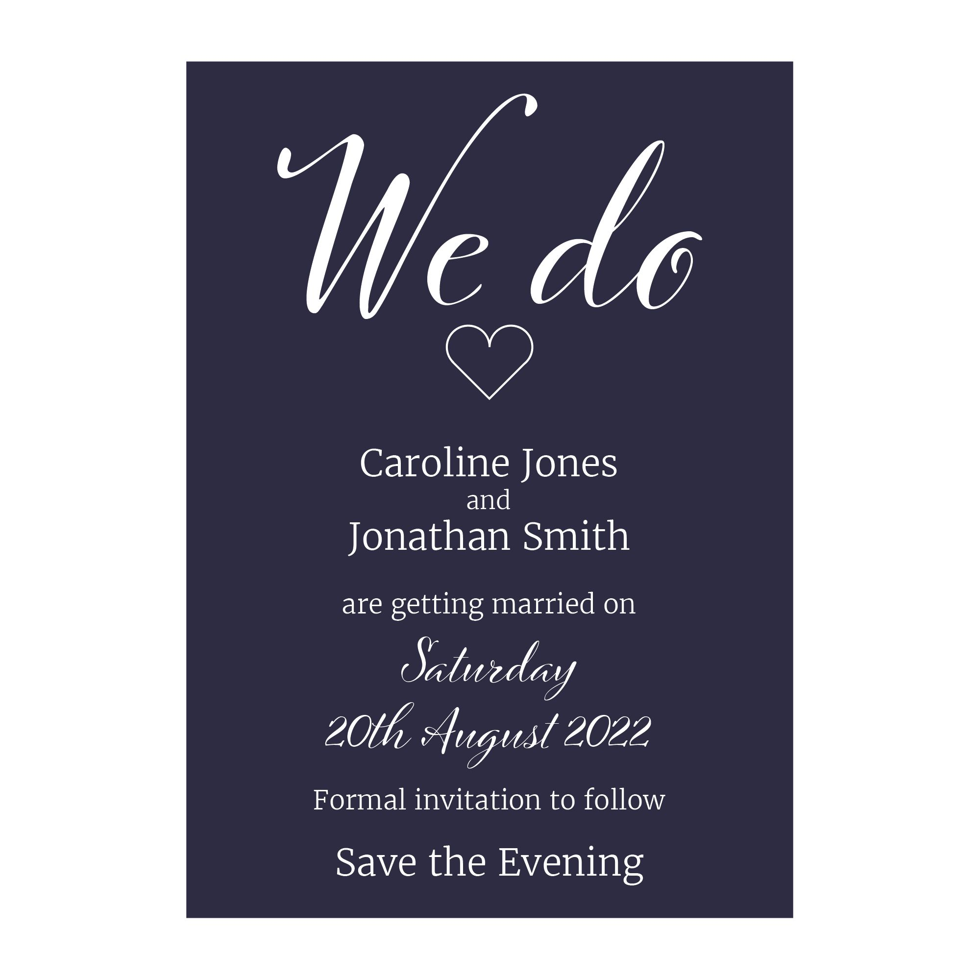 Navy Blue with White Ink We Do Decorative Save the Evening Cards