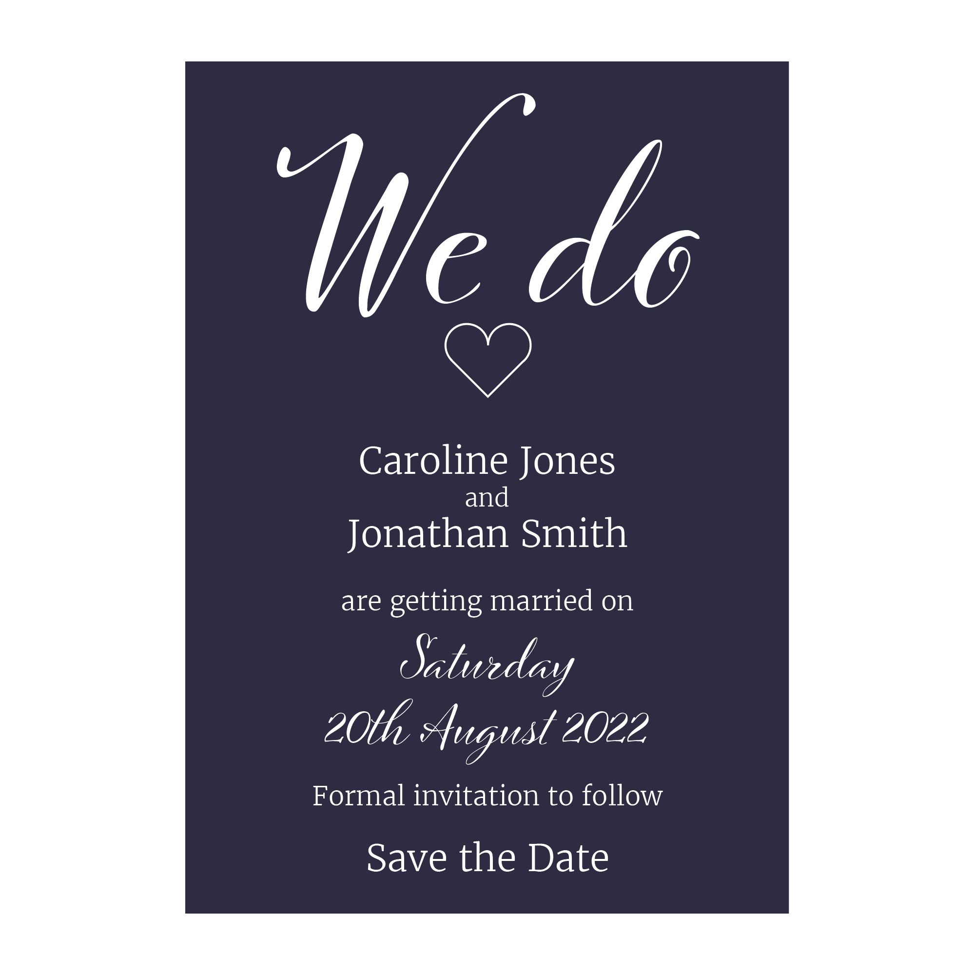 Navy Blue with White Ink We Do Decorative Save the Date Cards