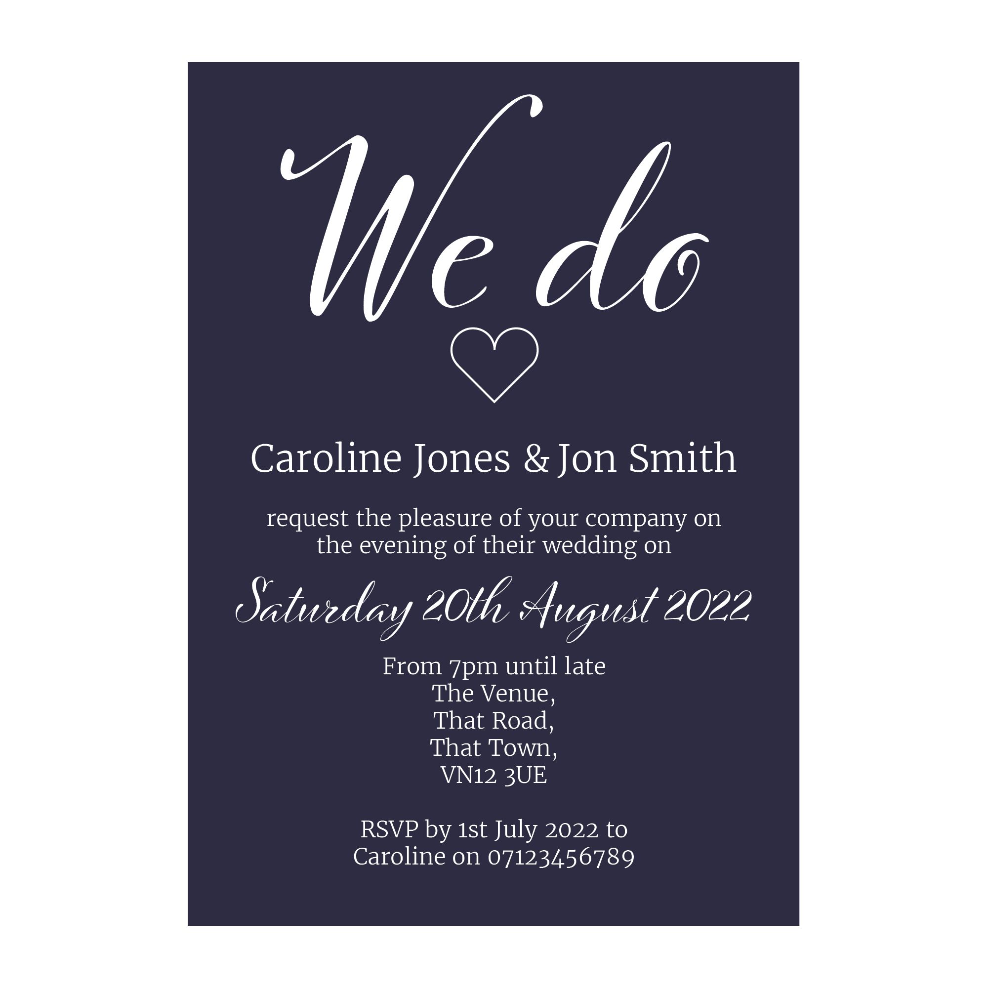 Navy Blue with White Ink We Do Decorative Reception Invitations