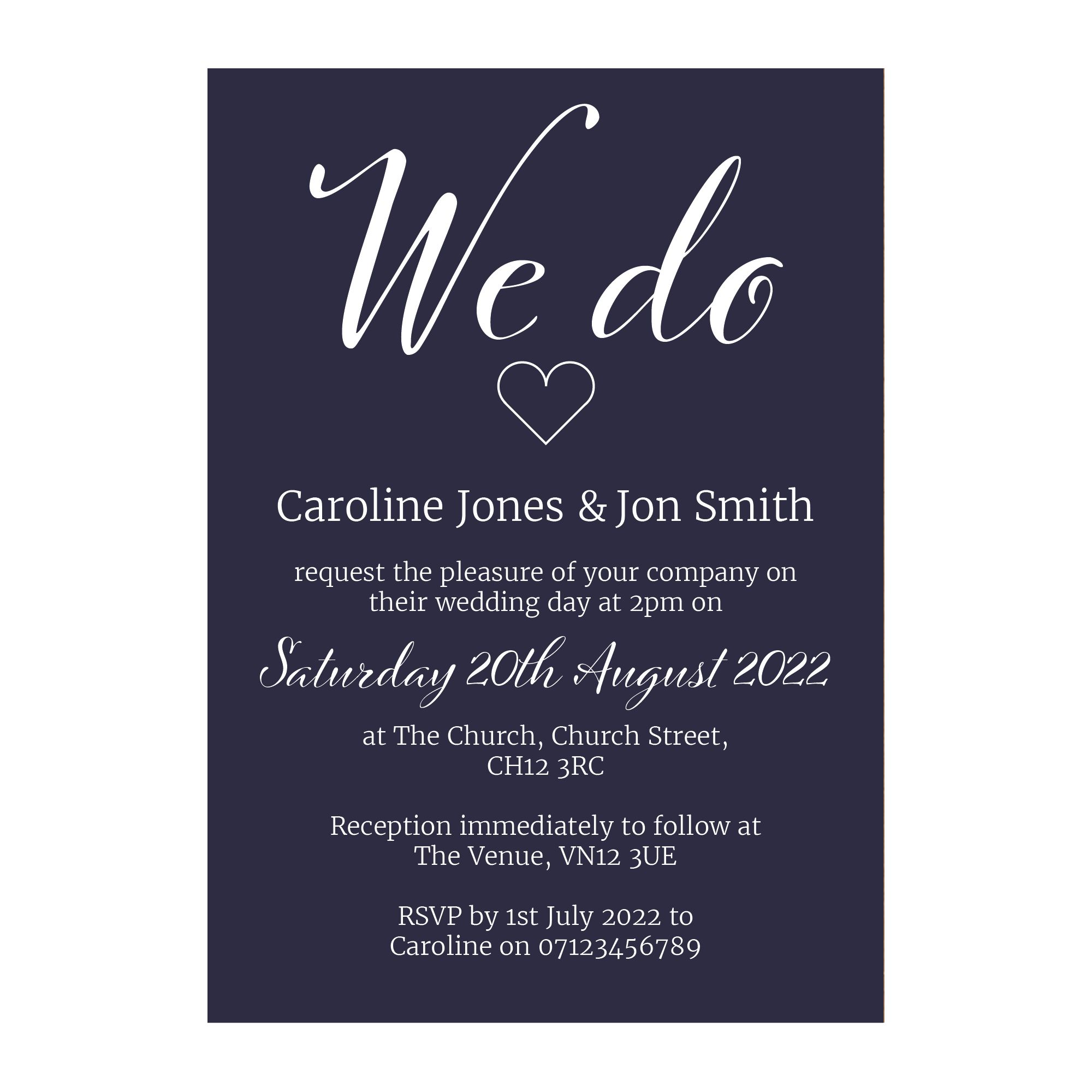Navy Blue with White Ink We Do Decorative Wedding Invitations