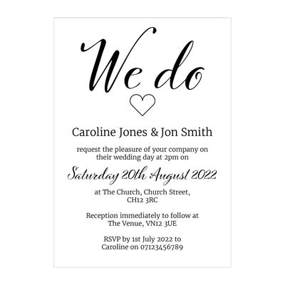 Recycled White We Do Wedding Invitations