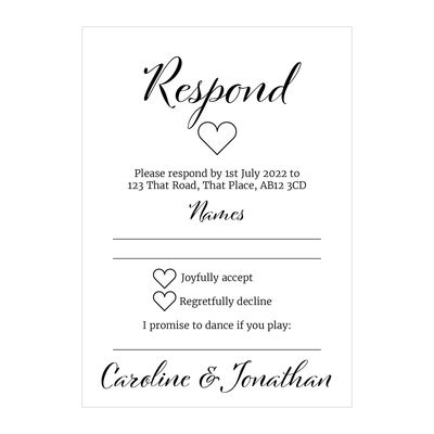 Textured White We Do RSVP Song Request Cards