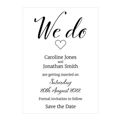 Recycled White We Do Save the Date Cards