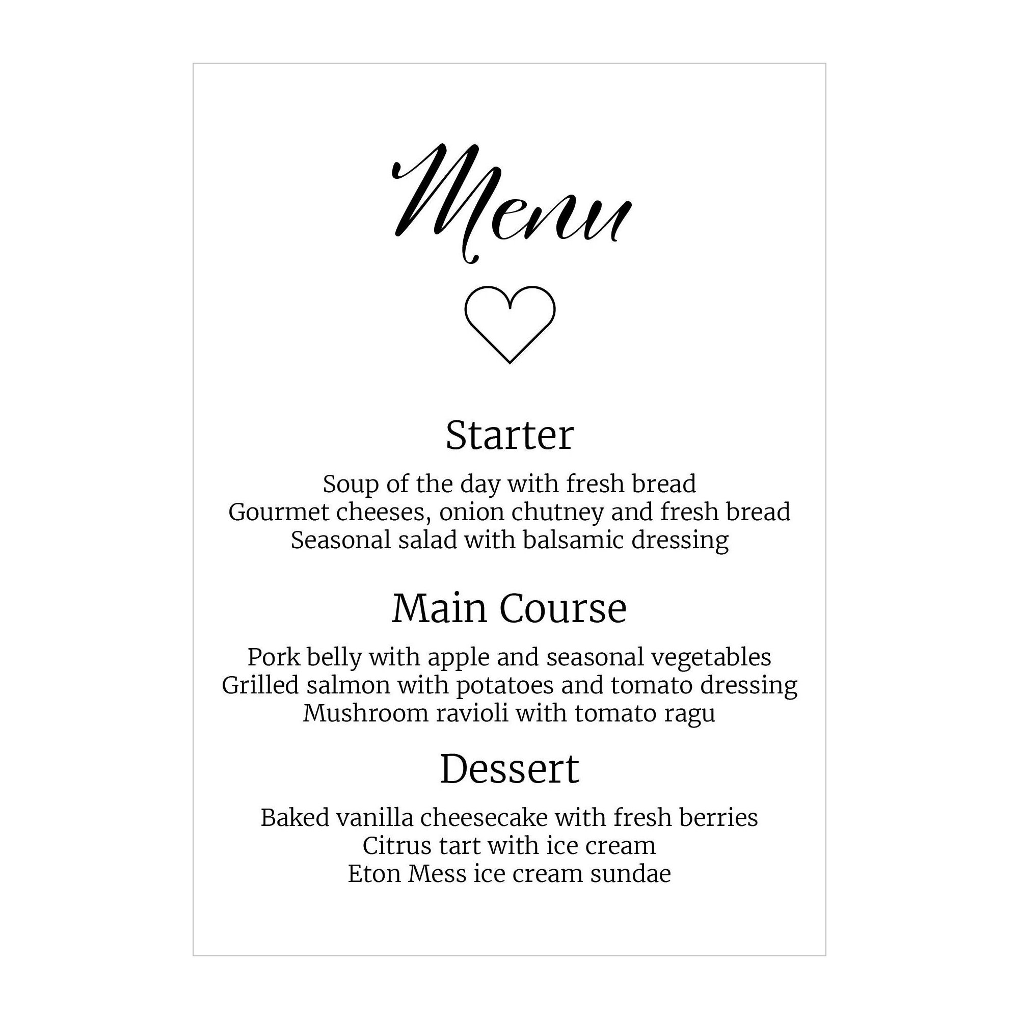 Textured White We Do Menu Cards