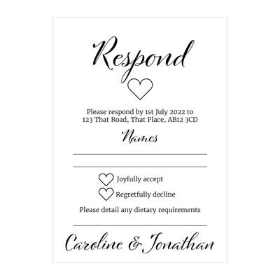 Textured White We Do RSVP Dietary Requirement Cards