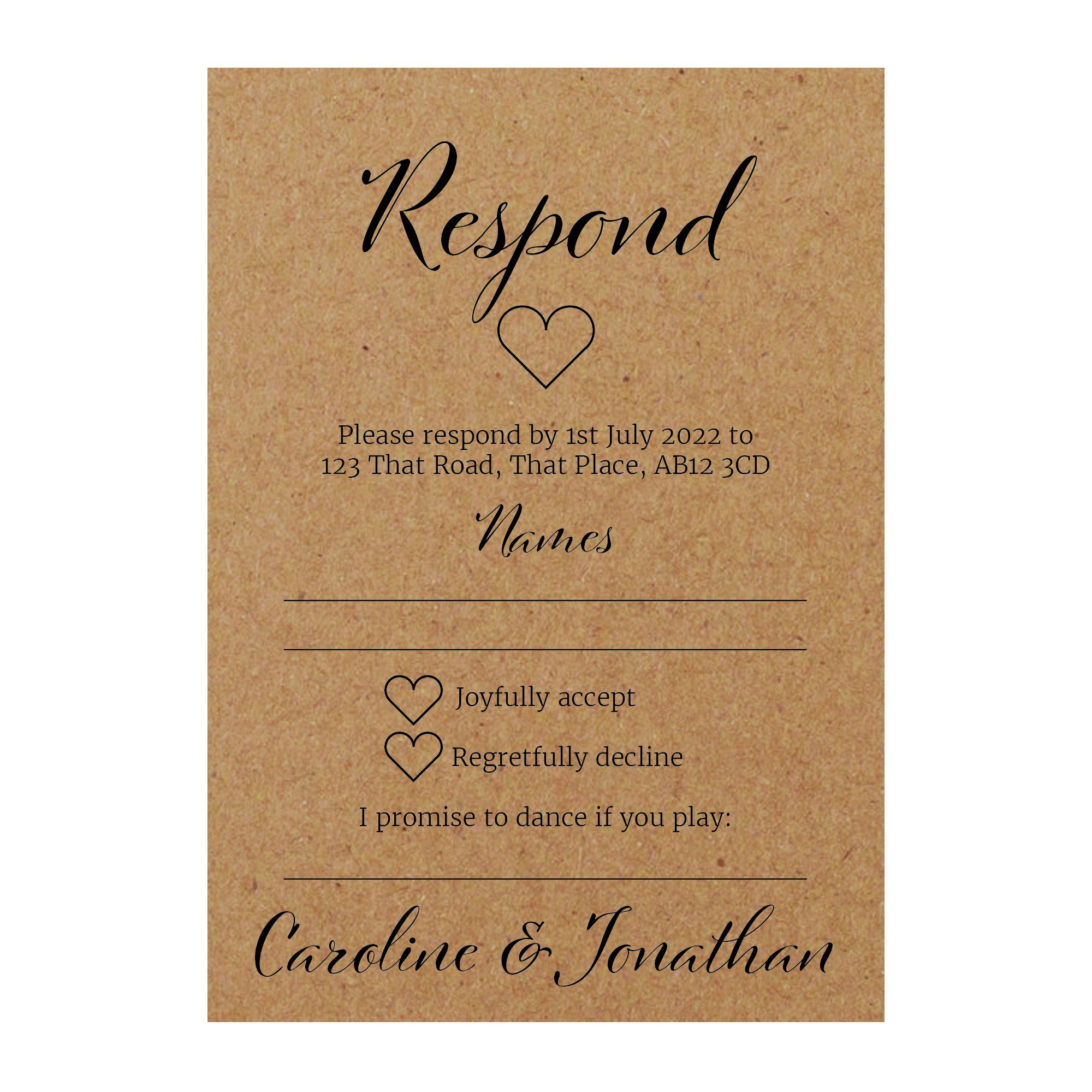 Recycled Brown Kraft We Do RSVP Song Request Cards