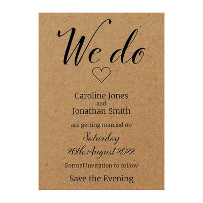 Recycled Brown Kraft We Do Save the Evening Cards