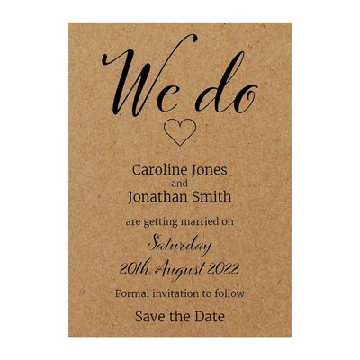 Recycled Brown Kraft We Do Save the Date Cards