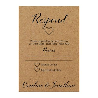Recycled Brown Kraft We Do RSVP Cards