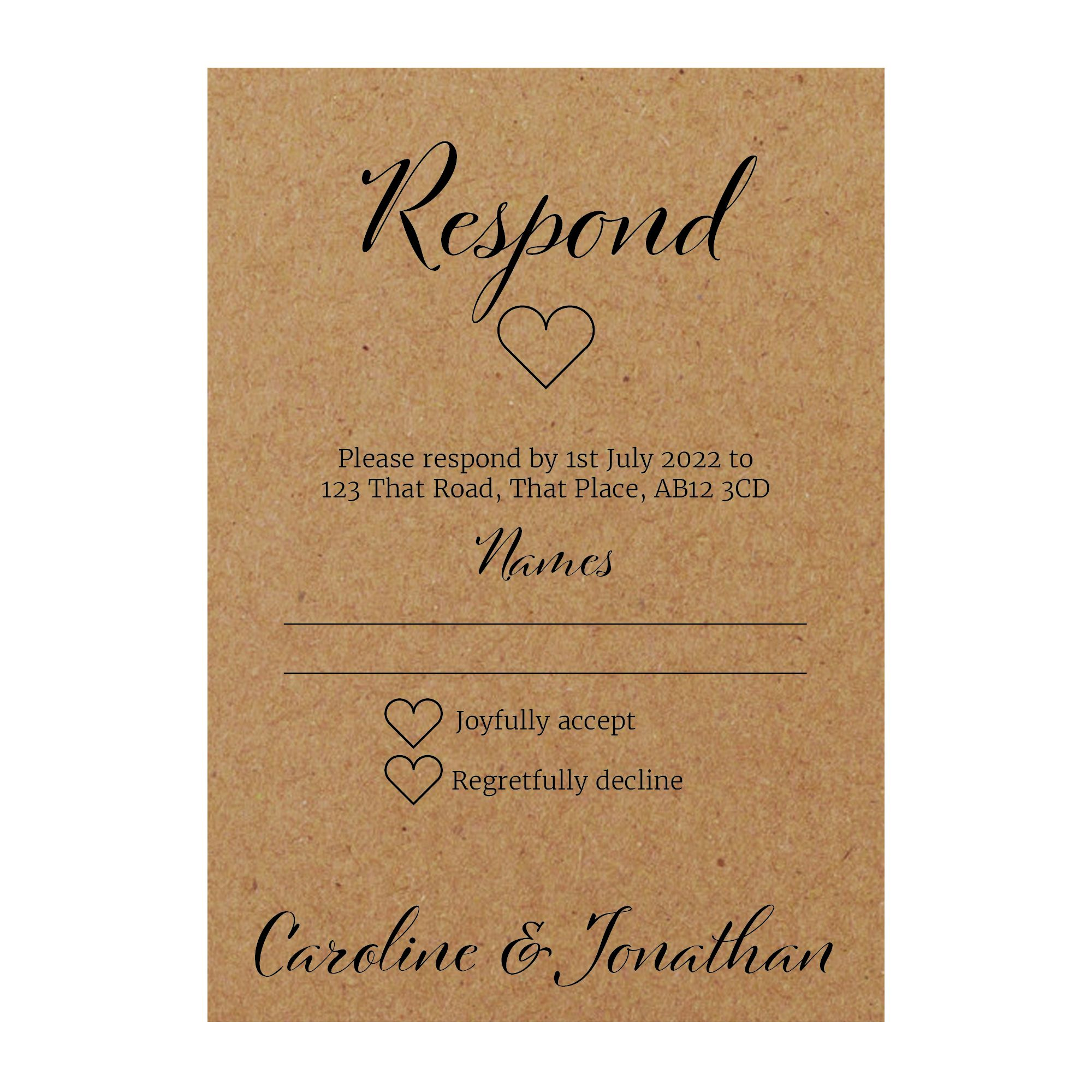 Recycled Brown Kraft We Do RSVP Dietary Requirement Cards