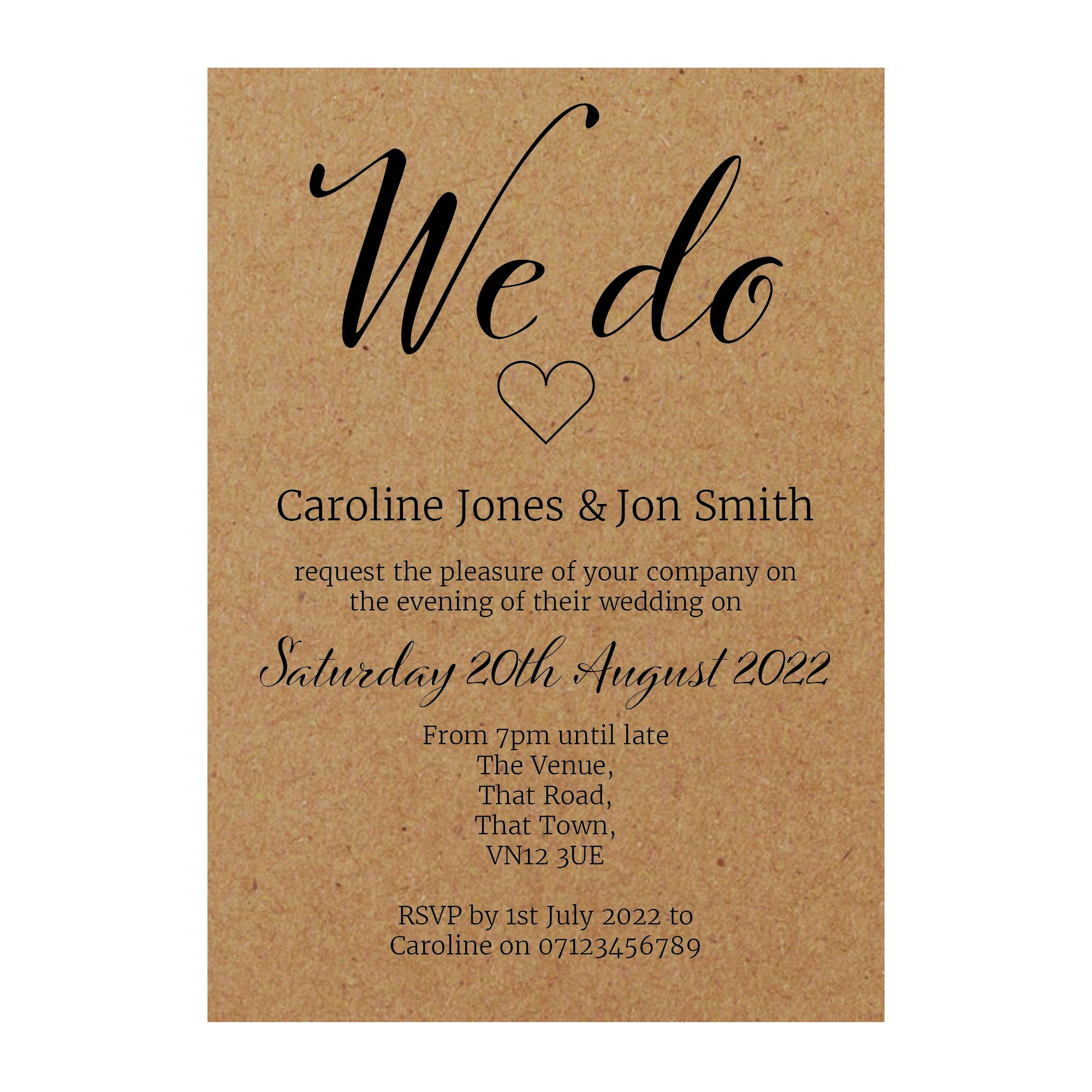 Recycled Brown Kraft We Do Reception Invitations
