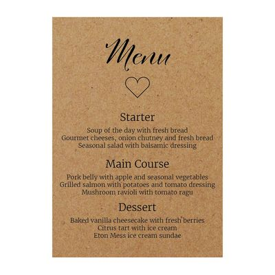 Recycled Brown Kraft We Do Menu Cards