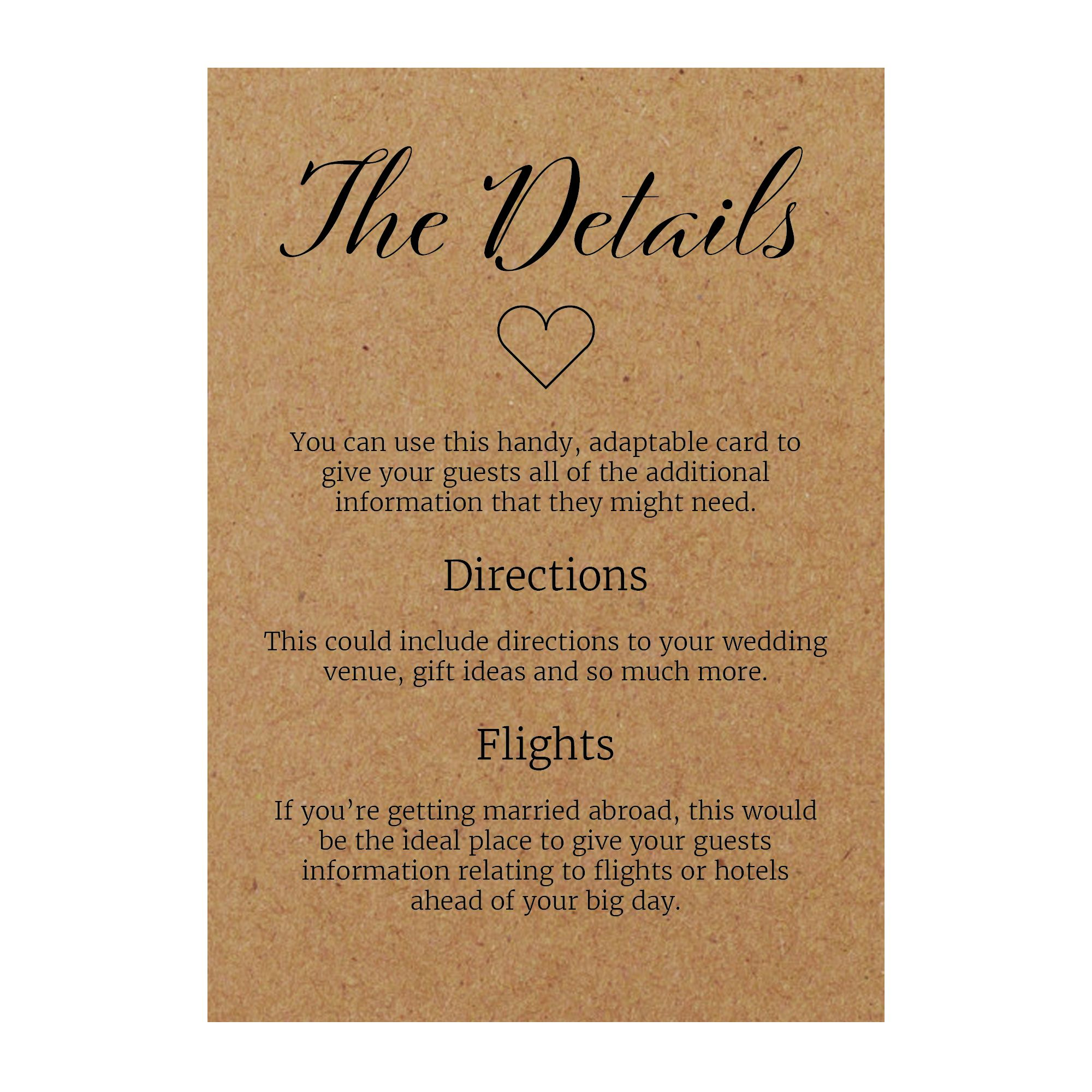 Recycled Brown Kraft We Do Guest Information Cards