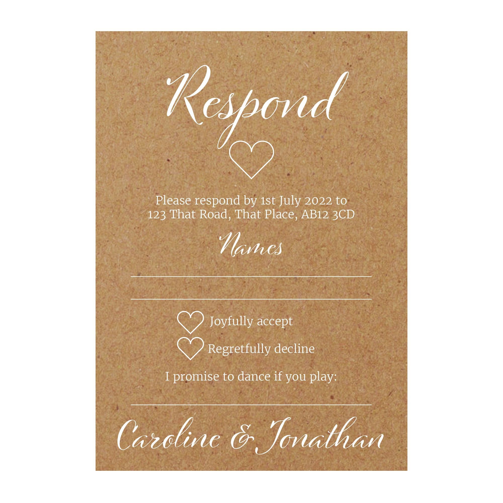 Recycled Brown Kraft with White Ink We Do RSVP Song Request Cards