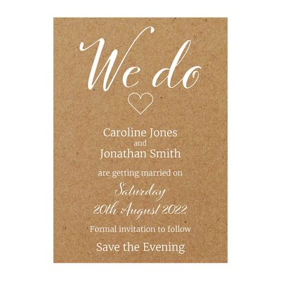 Recycled Brown Kraft with White Ink We Do Save the Evening Cards