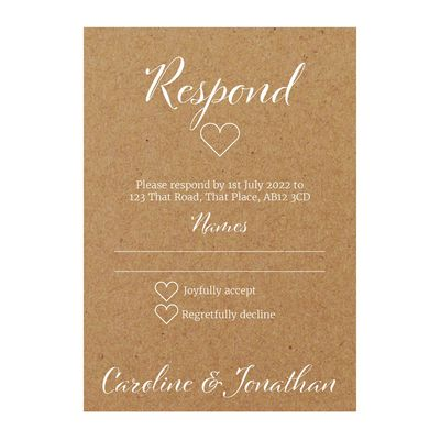 Recycled Brown Kraft with White Ink We Do RSVP Cards