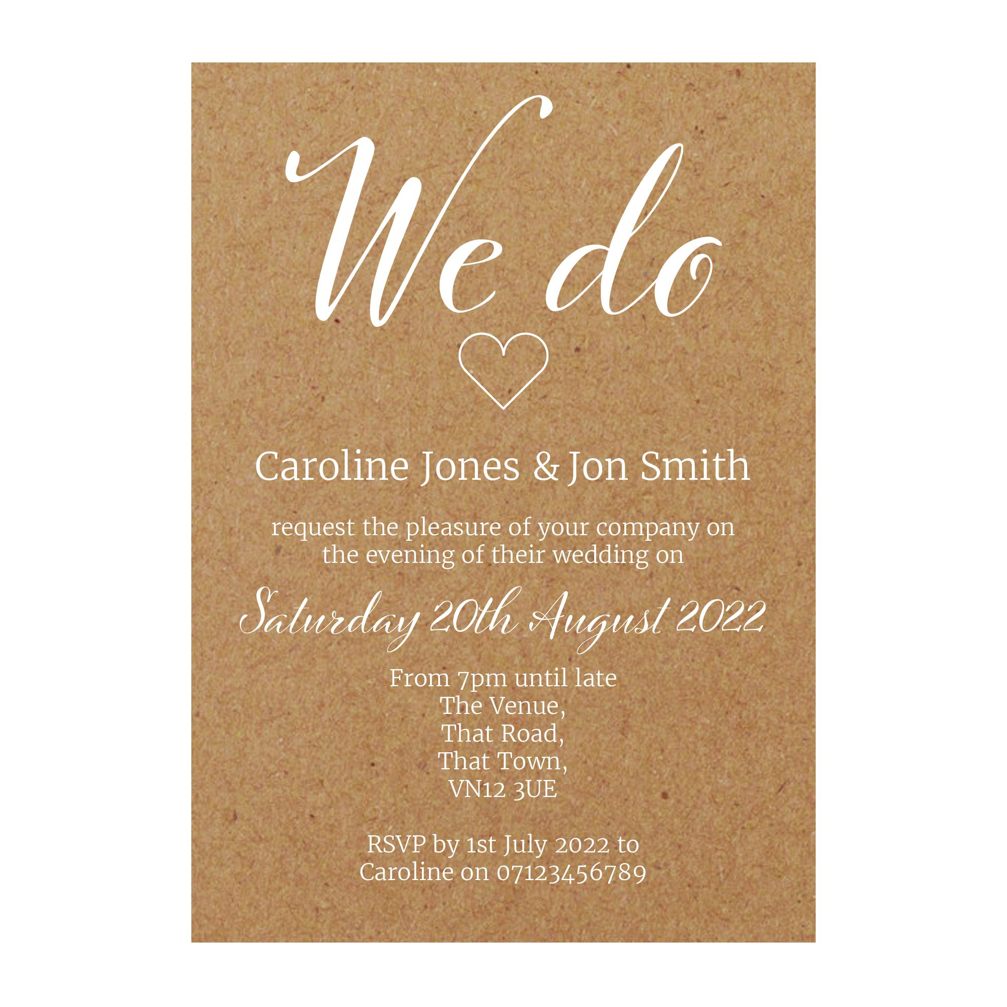 Recycled Brown Kraft with White Ink We Do Reception Invitations
