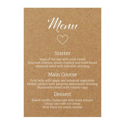 Recycled Brown Kraft with White Ink We Do Menu Cards