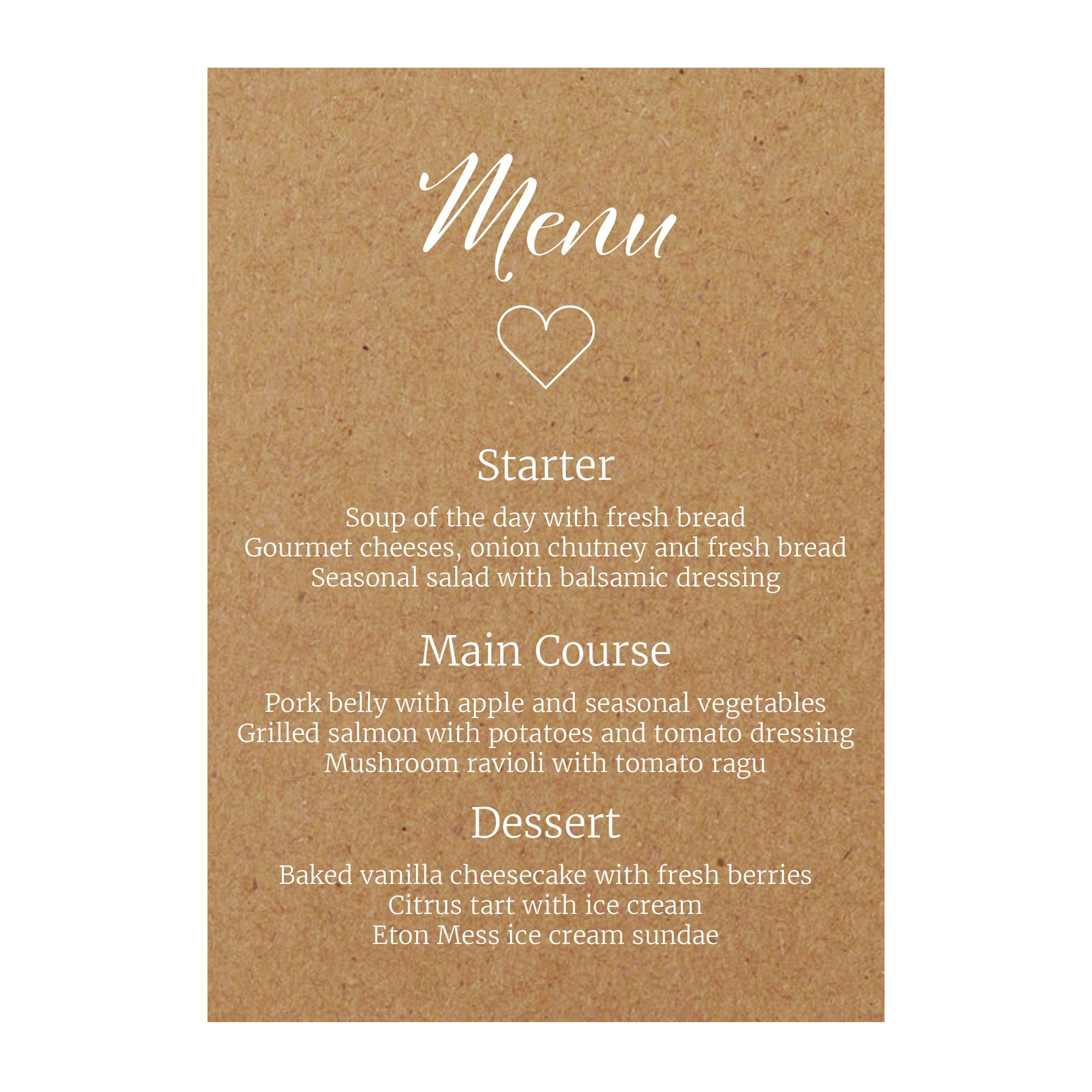 Recycled Brown Kraft with White Ink We Do Guest Information Cards