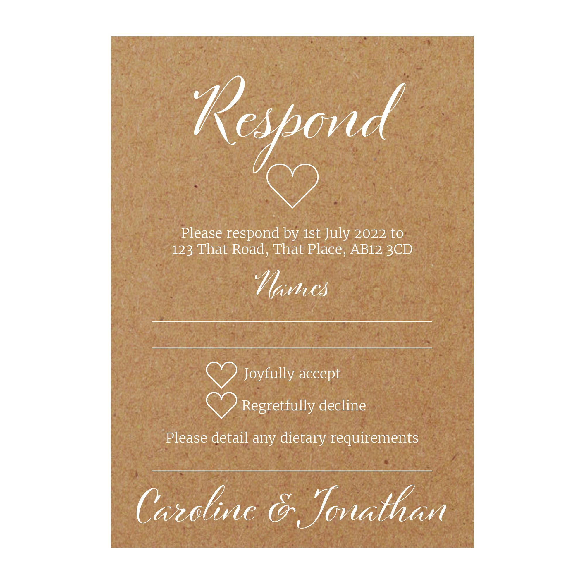 Recycled Brown Kraft with White Ink We Do RSVP Dietary Requirement Cards