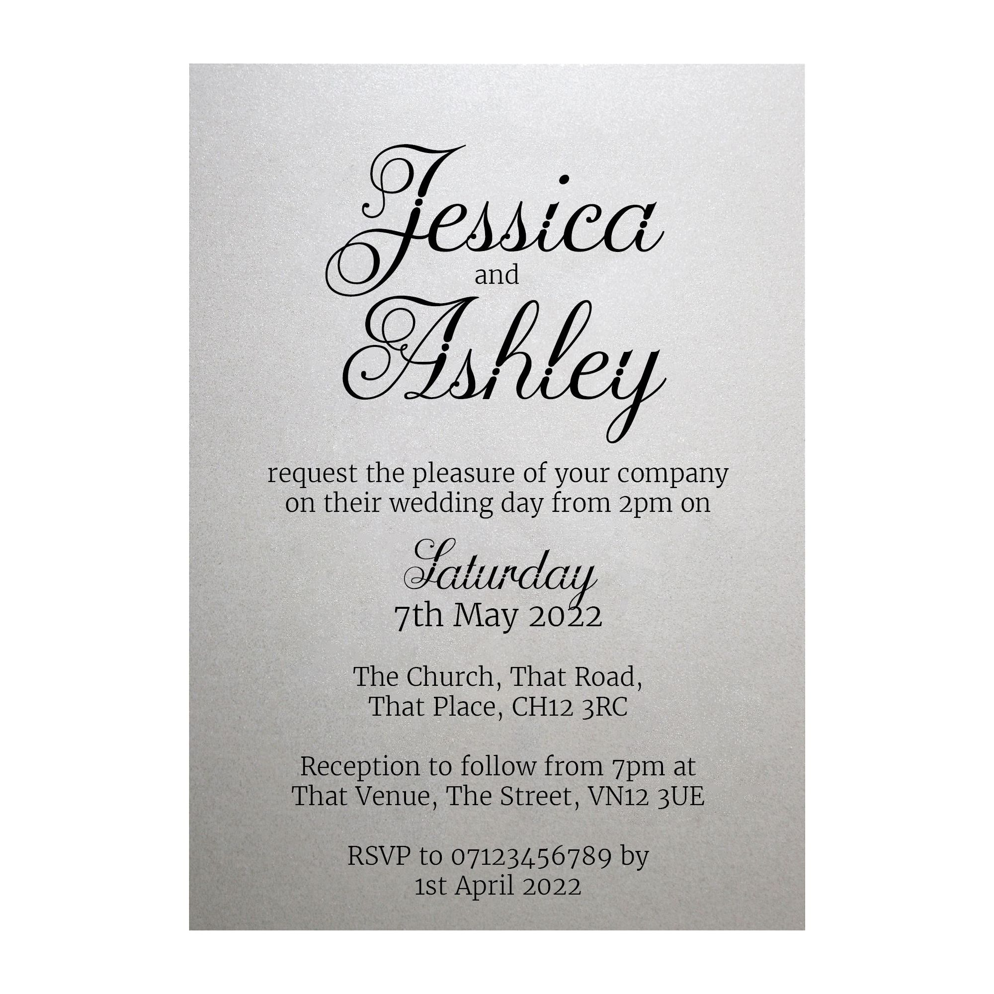Shimmer Arctic White Classic Swirled Decorative Wedding Invitations