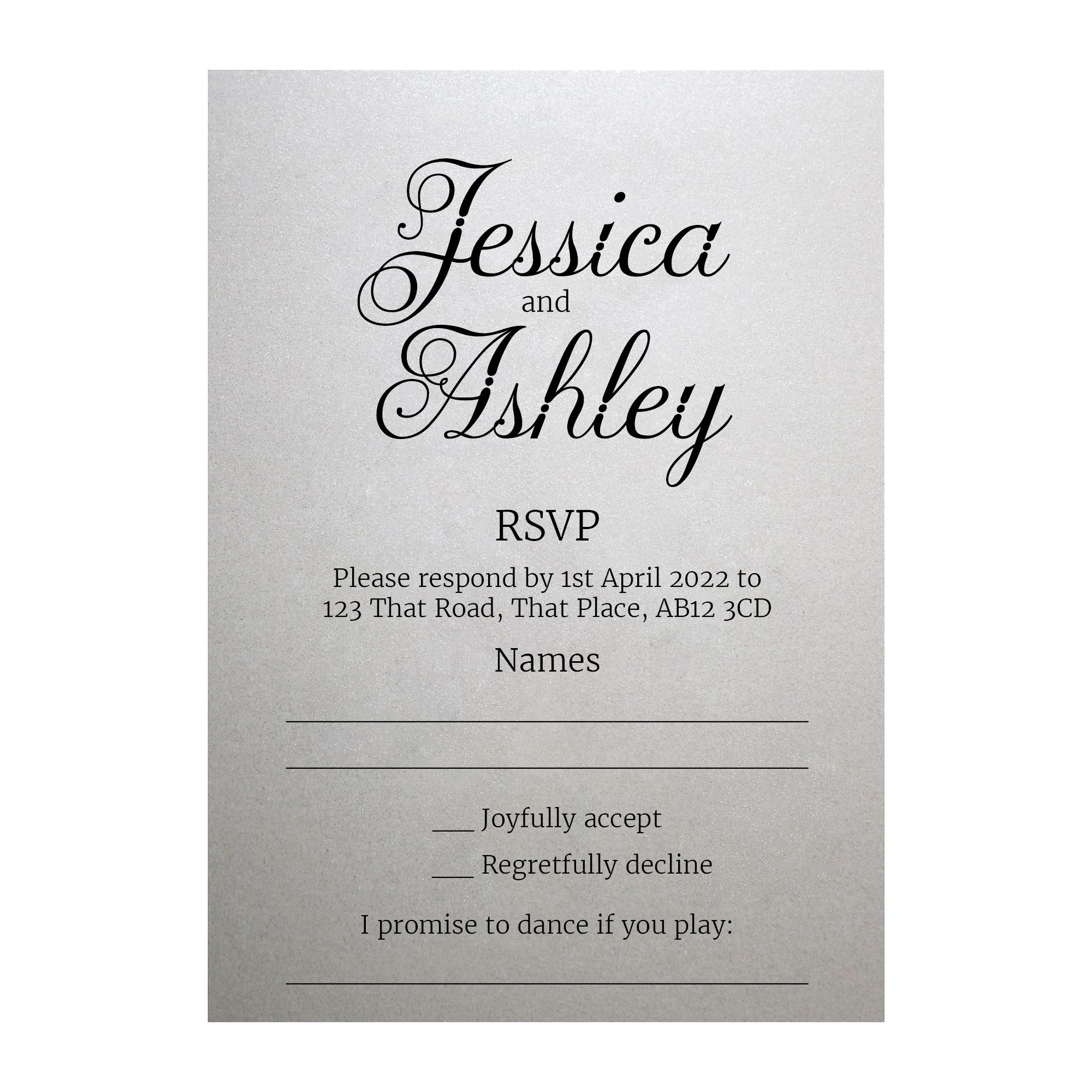 Shimmer Arctic White Classic Swirled Decorative RSVP Song Request Cards