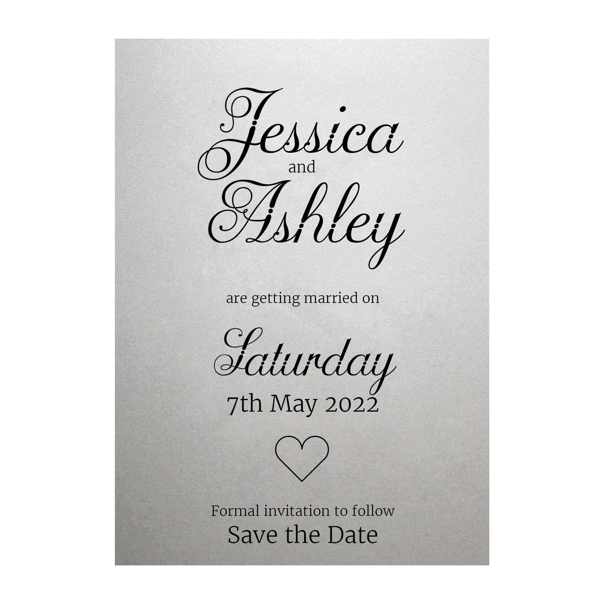Shimmer Arctic White Classic Swirled Decorative Save the Date Cards