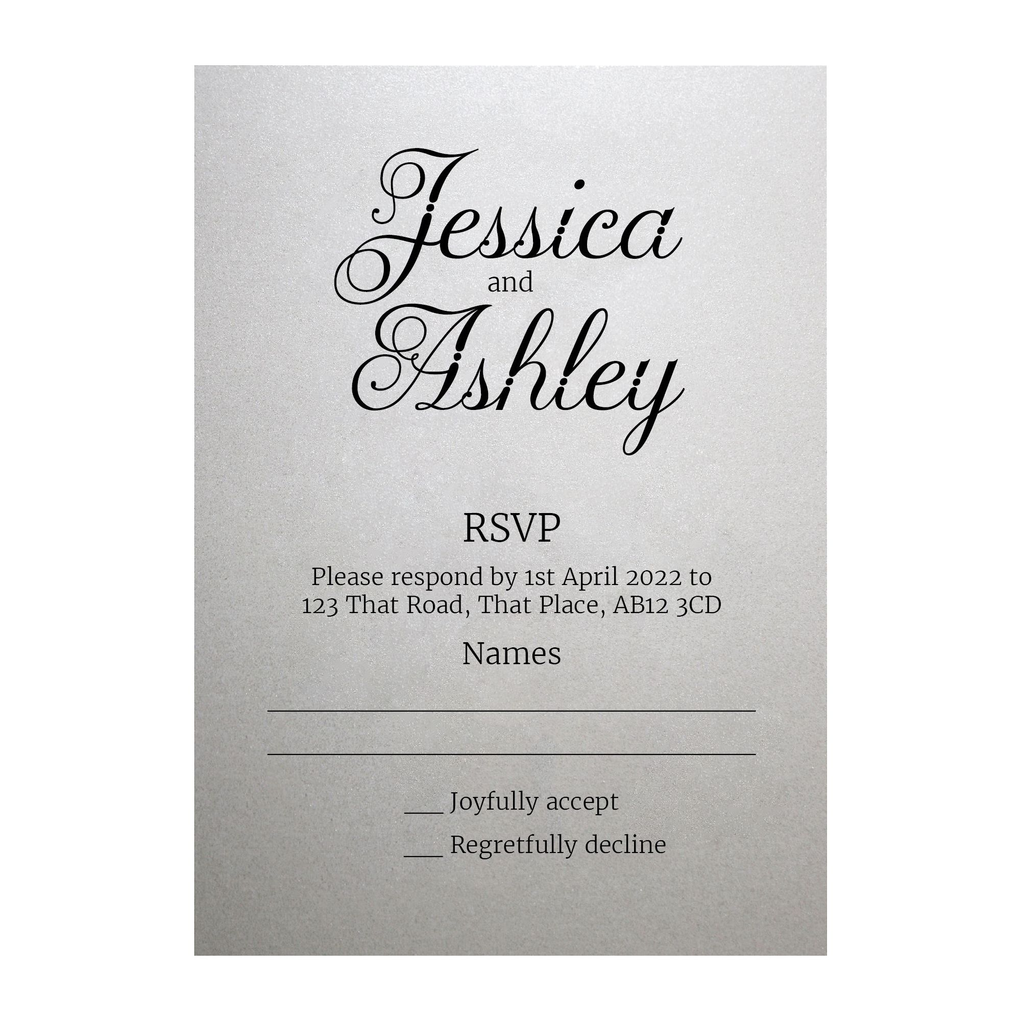 Shimmer Arctic White Classic Swirled Decorative RSVP Cards