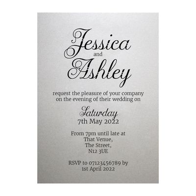 Shimmer Arctic White Classic Swirled Decorative Reception Invitations