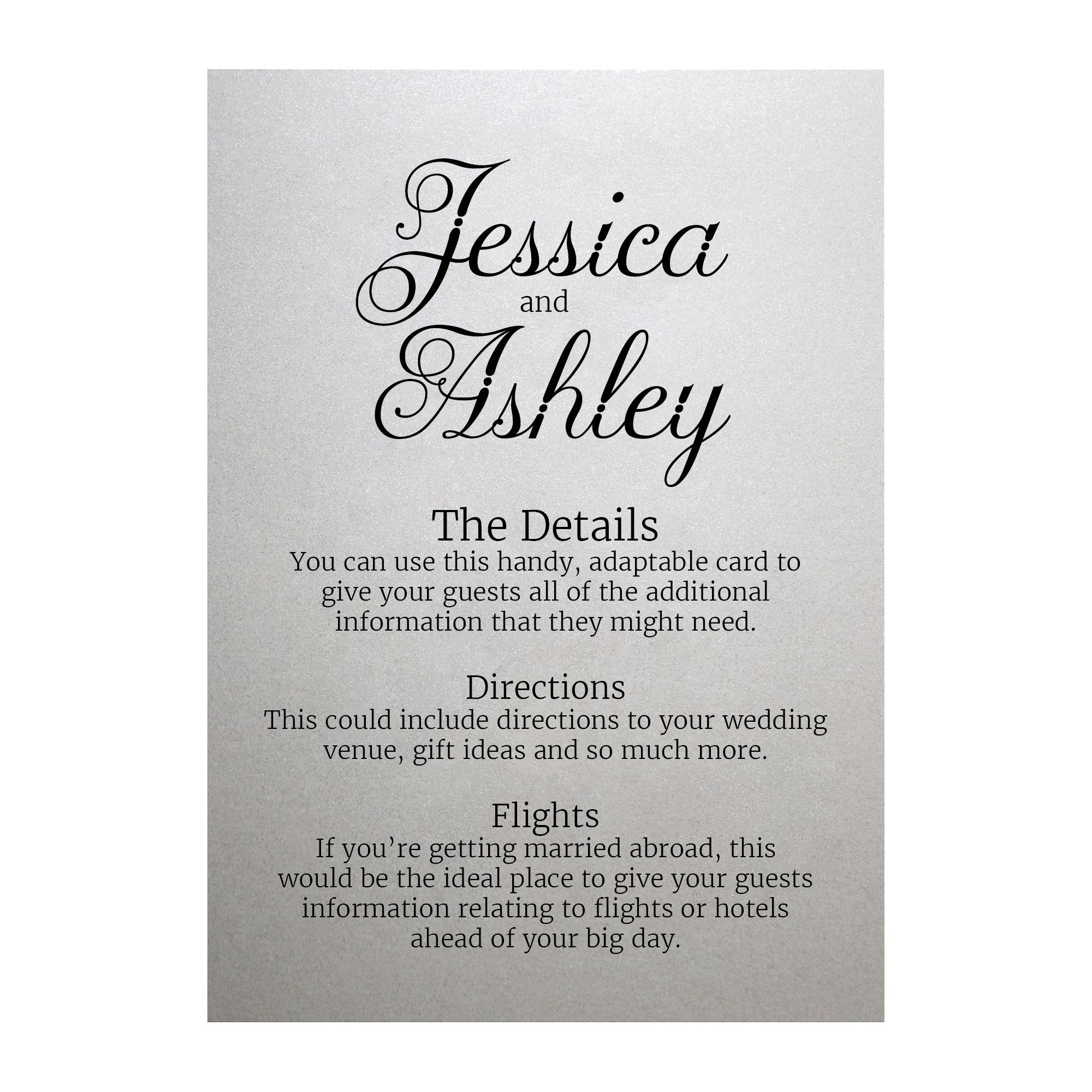 Shimmer Arctic White Classic Swirled Decorative Guest Information Cards
