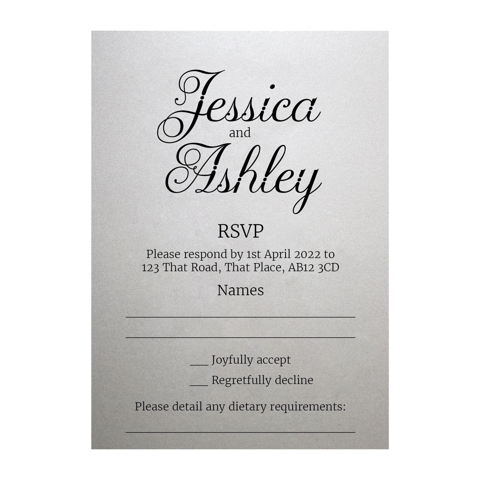 Shimmer Arctic White Classic Swirled Decorative RSVP Dietary Requirement Cards