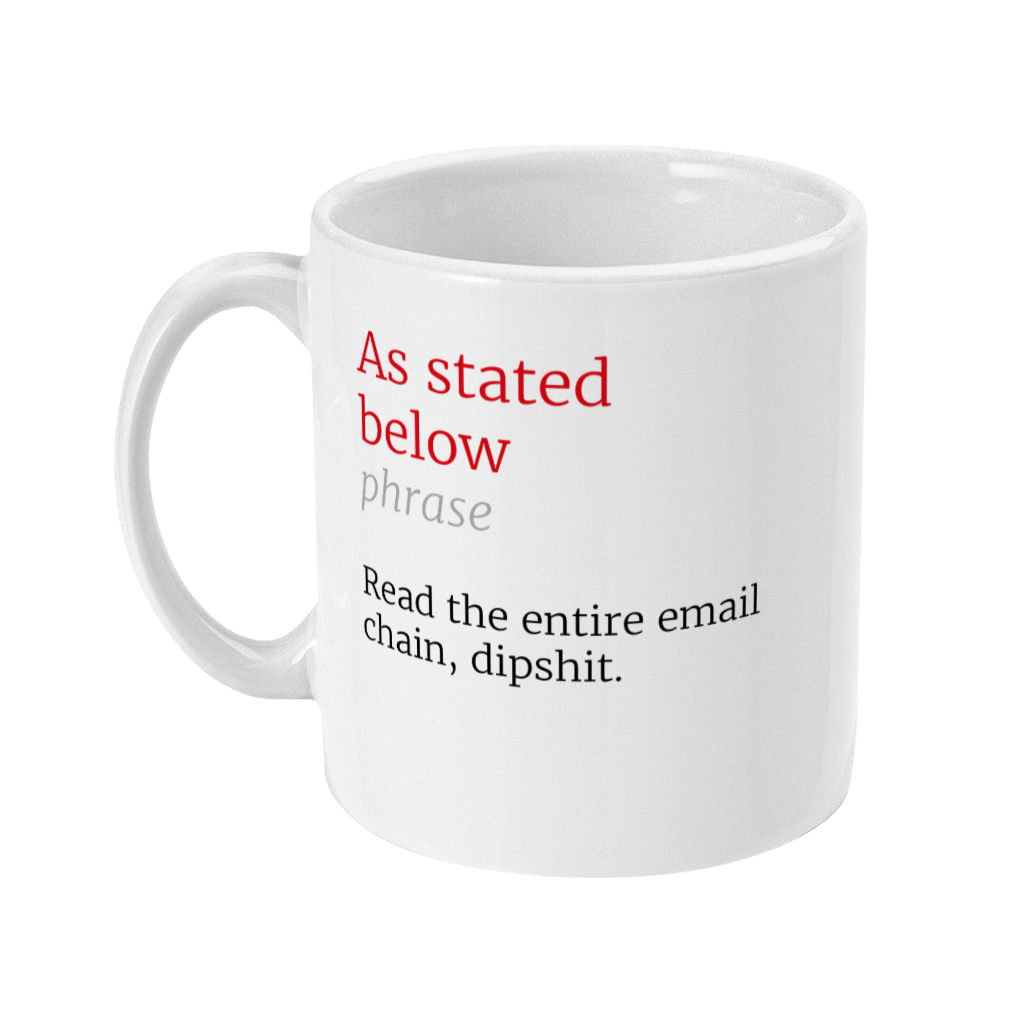 As Stated Below Honest Definition Funny Office 11oz Mug