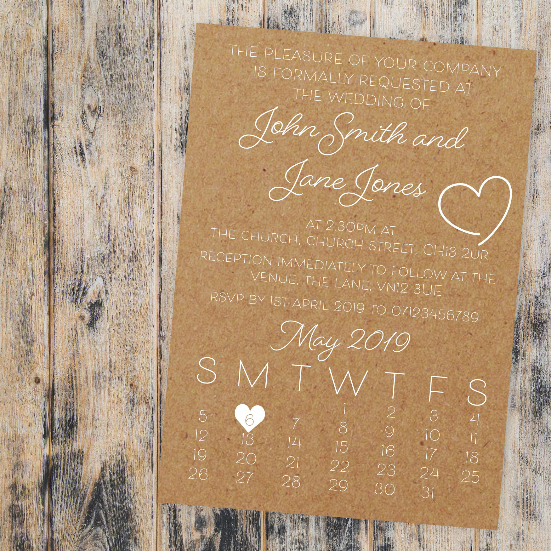 Recycled Brown Kraft with White Ink Cute Heart