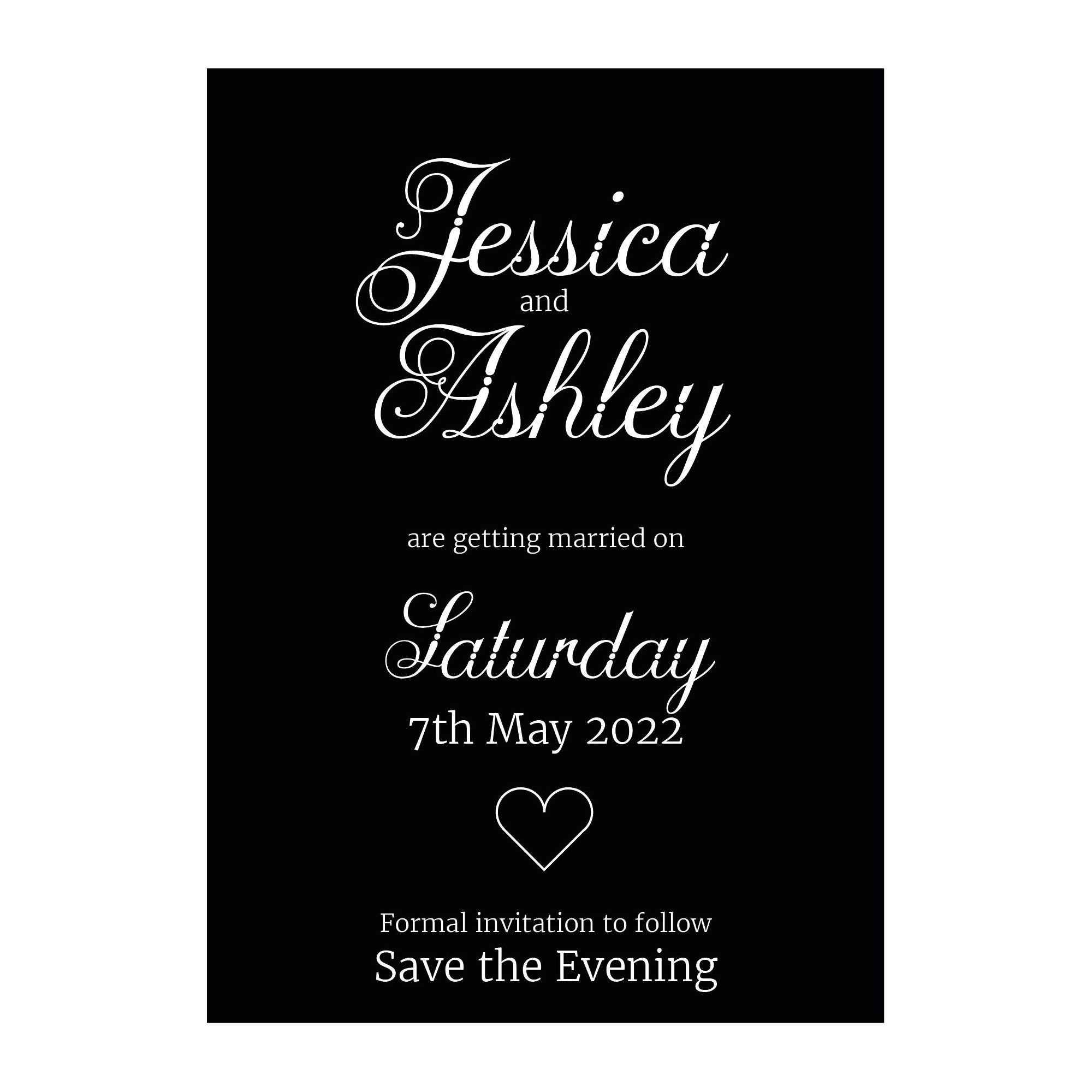 Black with White Ink Classic Swirled Decorative Save the Evening Cards
