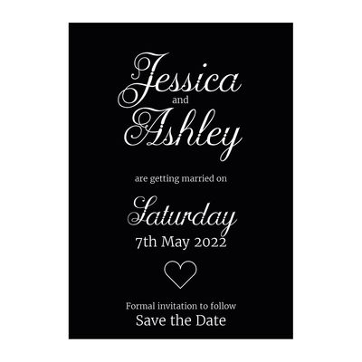 Black with White Ink Classic Swirled Decorative Save the Date Cards